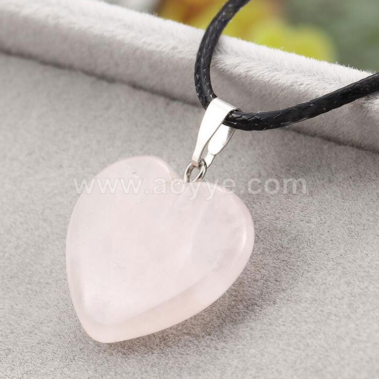Wholesale fashion jewelry natural tiger eye stone pink crystal stone pendant heart-shaped necklace