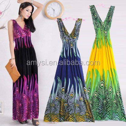 4.4 USD WQ017 Europe and the United States womens clothing sleeveless sexy V neck Beach Flower Print Summer Maxi Long Dress