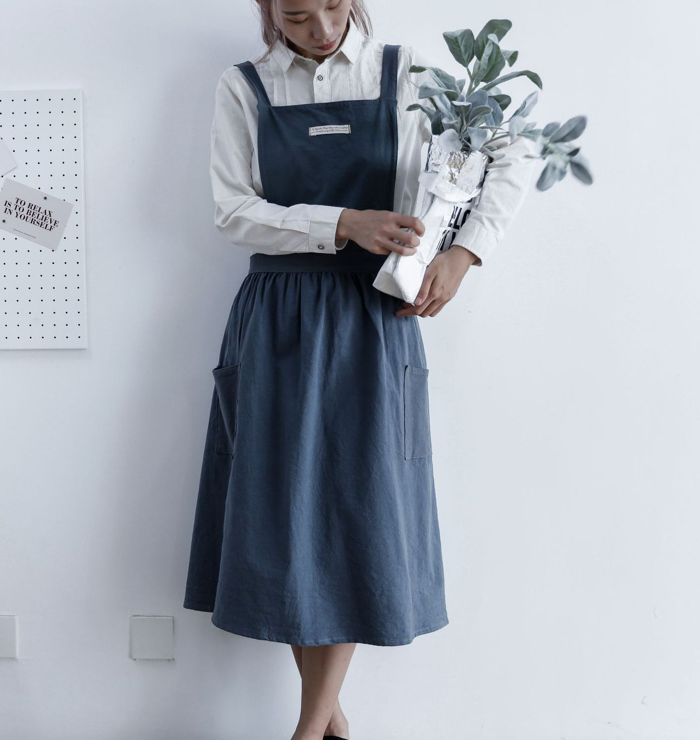 Brief Nordic Pleated Skirt Cotton Linen Apron Coffee Shops And Flower Shops Work Cleaning Aprons For Woman