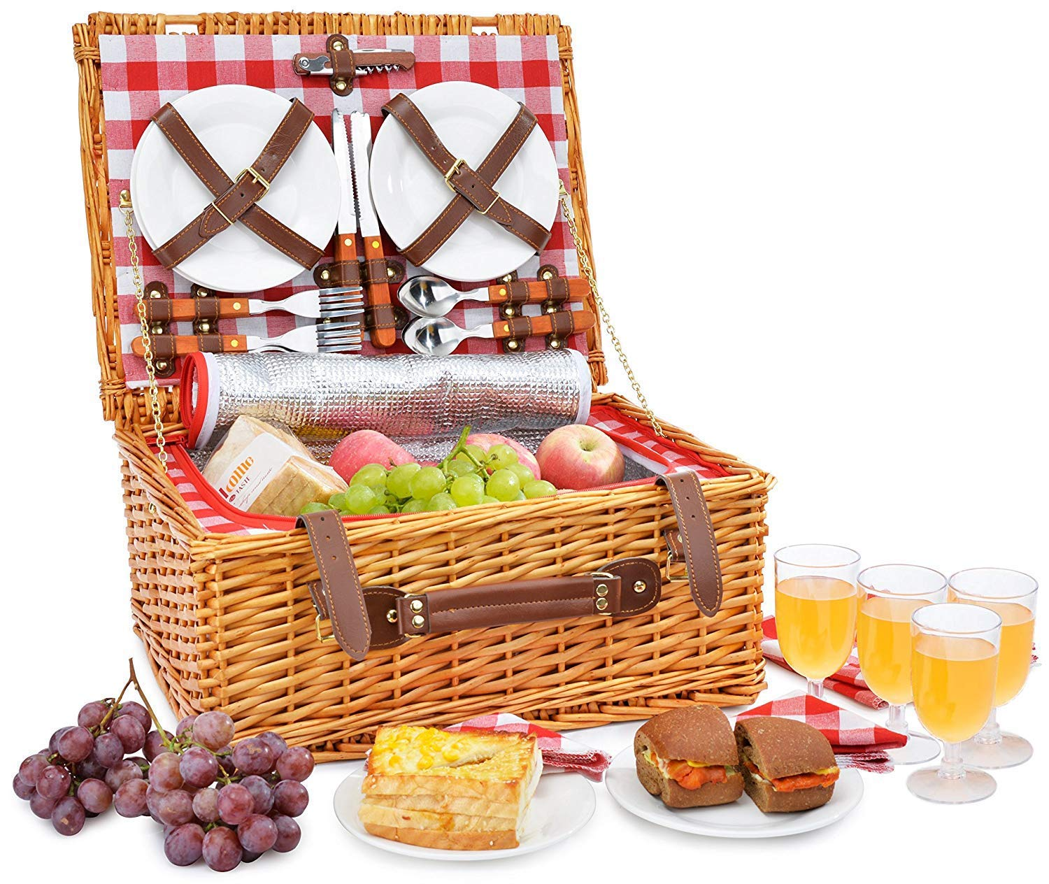 Picnic Basket Set for 4 Person Set | INSULATED Red Picnic Hamper Set with Lid | COMPLETE Picnic Table Set | Large Wicker Basket with Handle | Picnic Supplies | Summer Picnic Kit | Food Storage Baskets