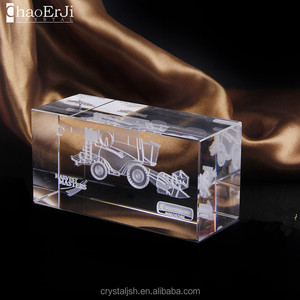Clear Glass Cube Blank Paperweight with 3D Lase engravening