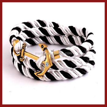 Wholesale Alibaba Black Alternating with White Anchor Bracelet for Men