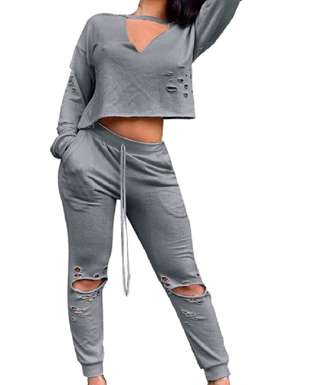 Zimaes-Women Solid-Colored 2pcs Elastic Waist Crop Top Harem Pant