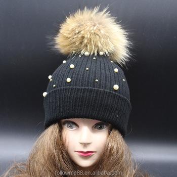 Womens Ladies pearls Diamond natural color Fur Pom Pom Beanie Winter Hat  crystal Bobble Hats 195fb92d0