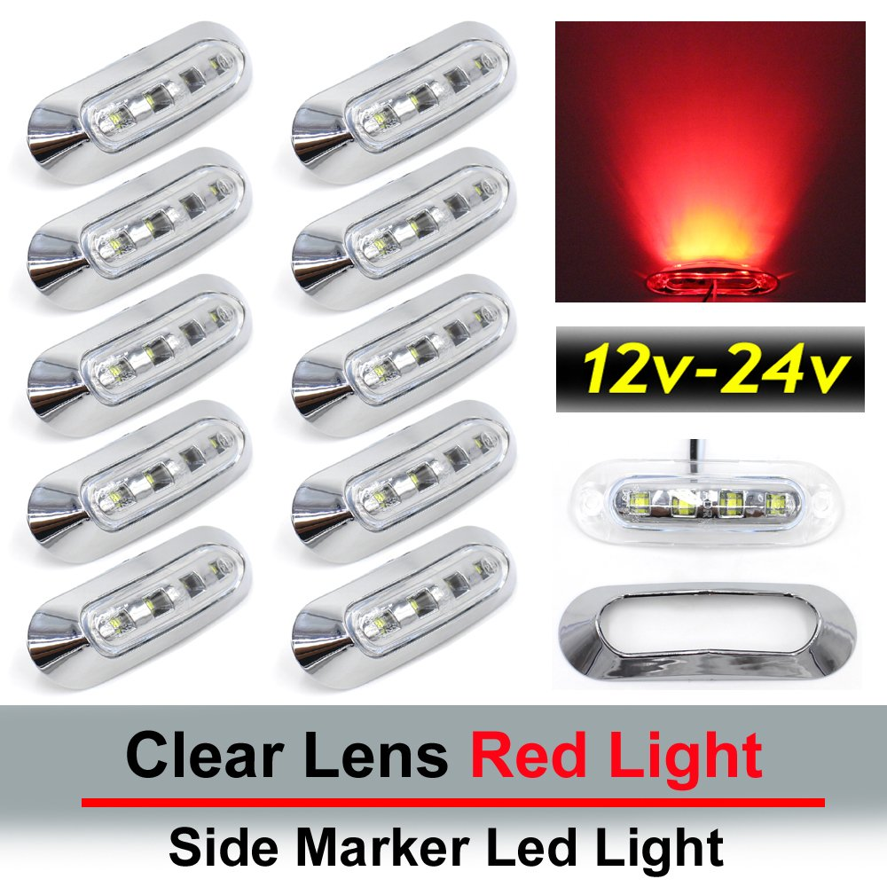 "10 pcs TMH 3.6"" submersible 4 LED Clear Lens Red Light Side Led Marker 10-30v DC , Truck Trailer marker lights, Marker light amber, Rear side marker light, Boat Cab RV"