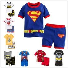 2016 new summer cotton short sleeve clothes sets kids pajamas girls pijama boys children s pyjamas