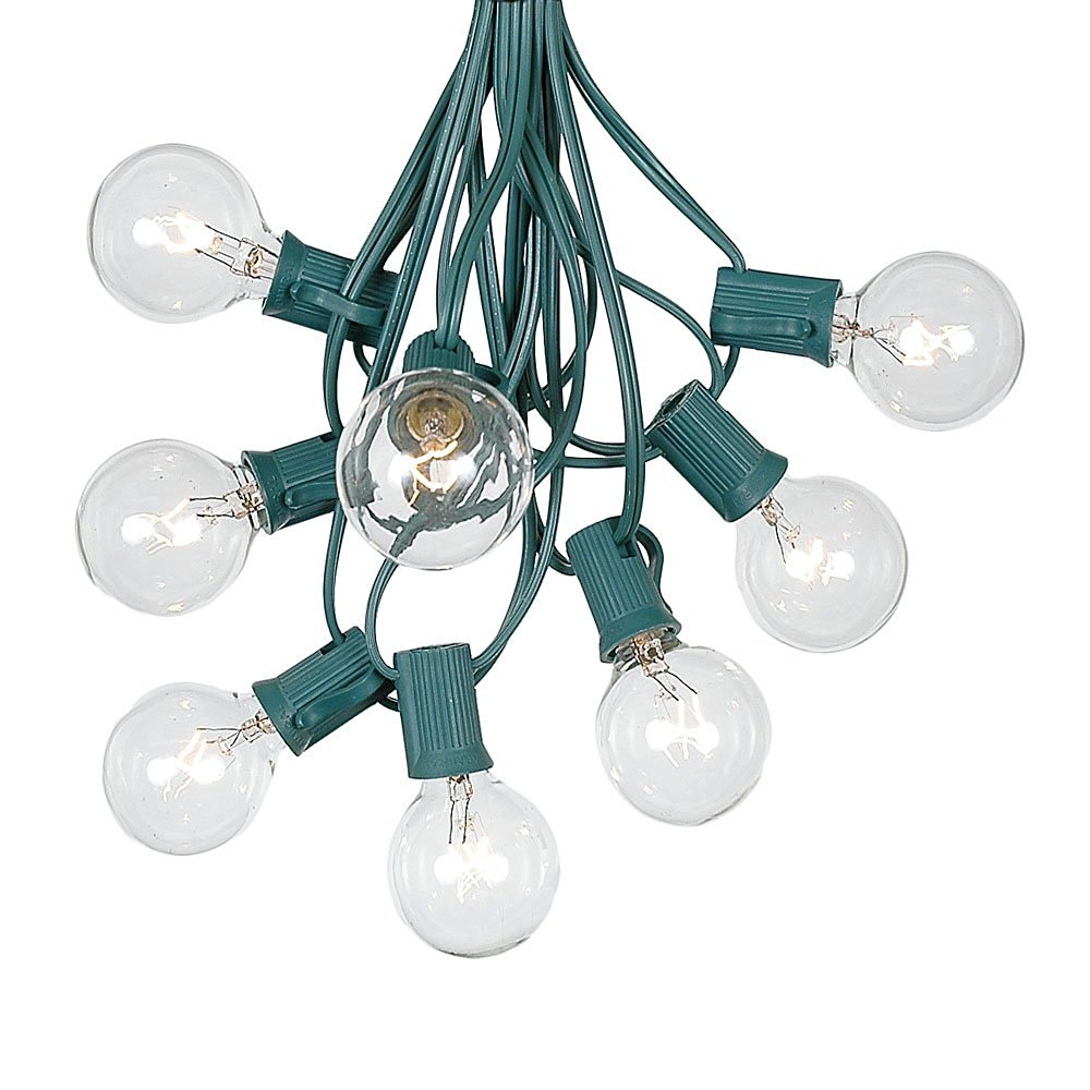 G40 Patio String Lights With 125 Clear Globe Bulbs - Hanging Garden String Lights - Vintage Backyard Patio Lights - Outdoor String Lights - Market Cafe String Lights - Green Wire - 100 Foot