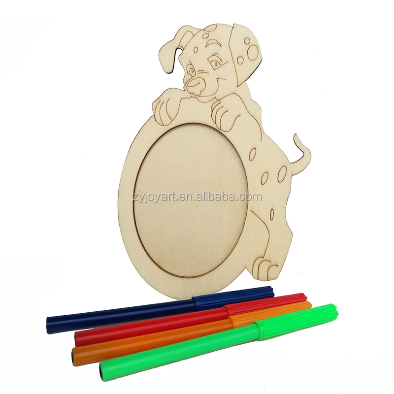 Children DIY coloring wooden frame picture holder 15x15cm w/ paint markers