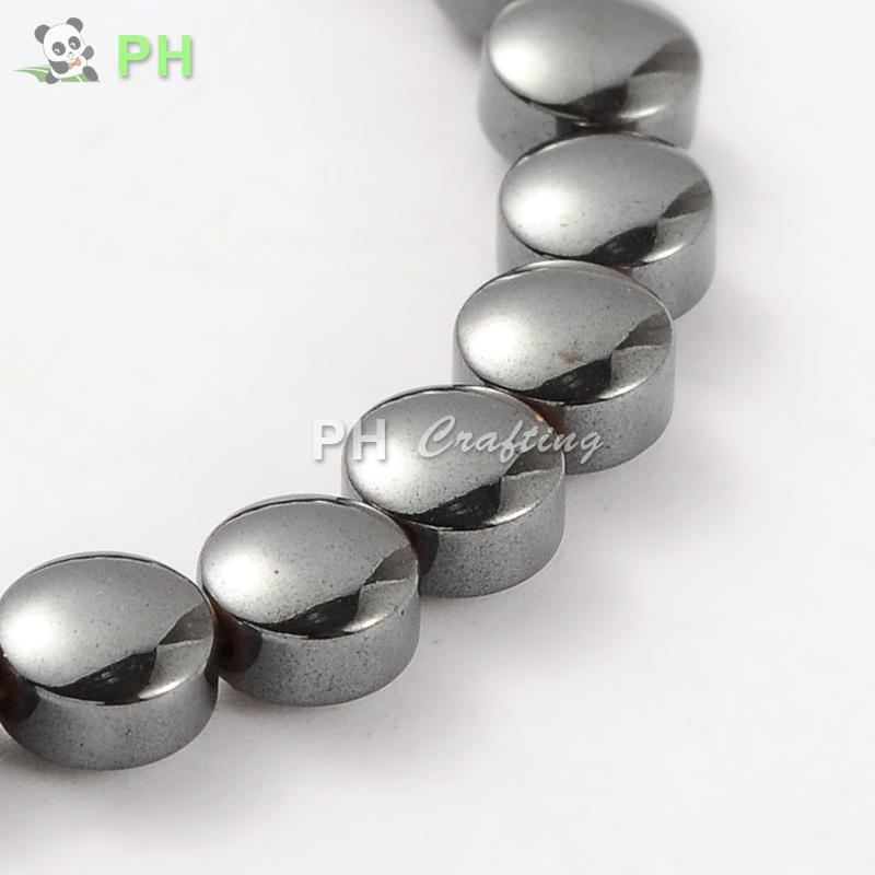 Electroplate Gorgeous Non-Magnetic Flat Round Hematite Beads Strands, 6x3mm, Hole: 1mm; about 68pcs/strand, 15.74""