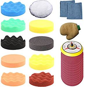 ZFE 28Pcs 125mm (5inch) Higher Gross Polish Polishing Buffer Pad +Sanding Disc + Drill adapter Kit for Car Polisher--5/16-24 Thread