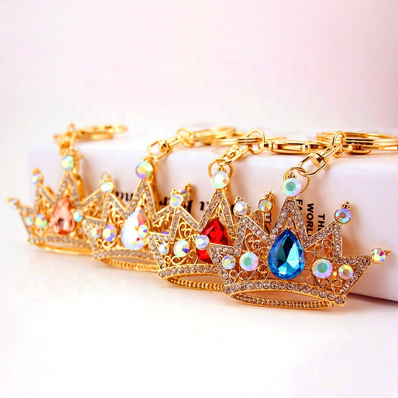 Fashion Crown Keychain Pendant Bag Holder Crystal Strass Women Bag Flower Charm Metal Keychain Buckle Key Ring