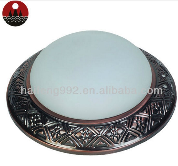 China supplier glass round ceiling lamp for dining room antique copper decorative ceiling light 9''/11''