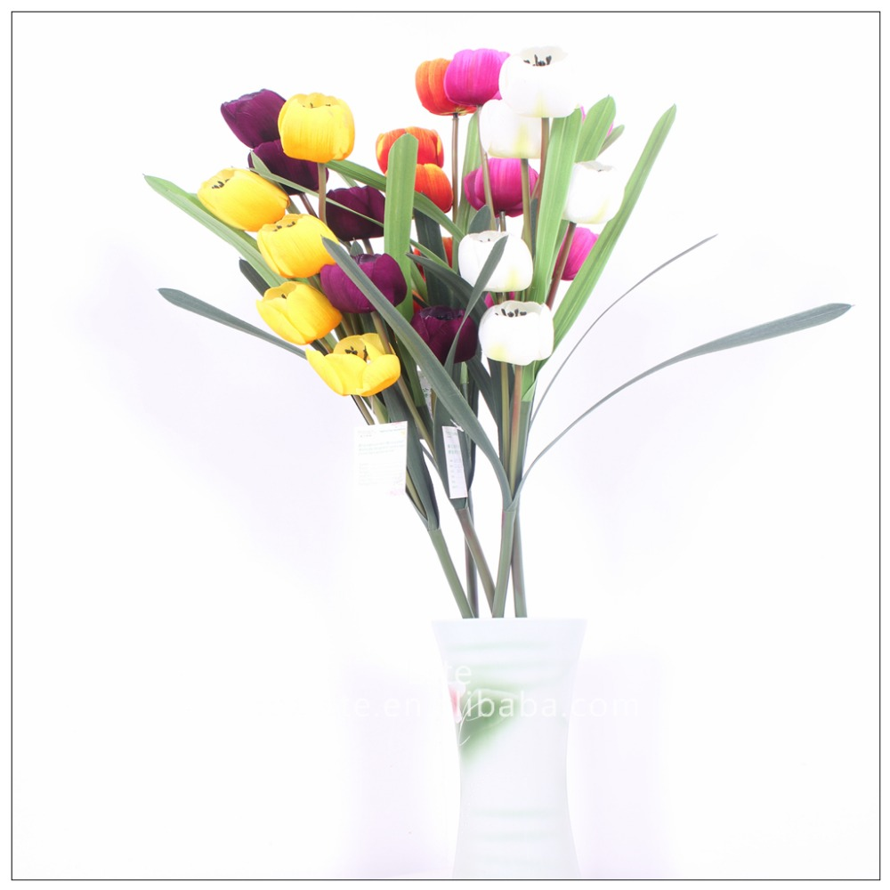 artificail 5-headed lint flannelette tulip flower in factory price