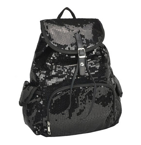 Korean Fashion Blue/Purple/Black Average Size Sequin Backpack
