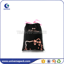 Factory supplier small cotton cell phone bag with drawstring and logo