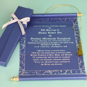 customized color foil text royal scroll wedding invitations card luxury