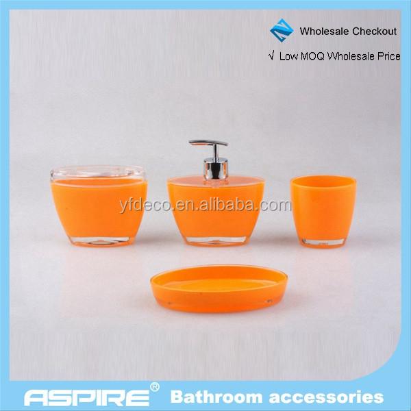 Attrayant Accessoires Salle De Bain Couleur Orange #8: Salle De Bains Accessoires Orange Vif Acrylique Salle De Bains Ensemble