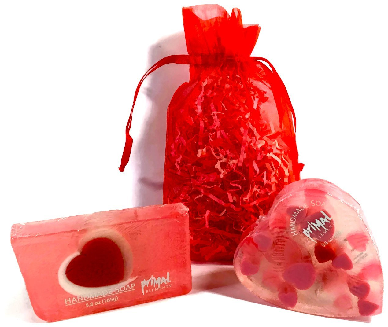 Sweetheart Glycerin Soap Set Includes 2 Primal Elements Soap Bars - Cherish Bar & Heart Shaped Bar in an Organza Gift Bag with Pretty Crinkle. Berries/Vanilla & Sandalwood/Musk.