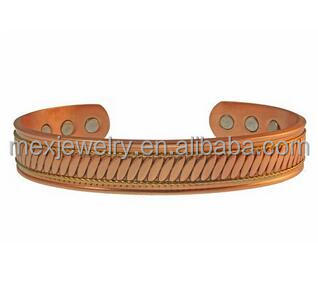 2000 Gauss Magnet Copper Brass Wire Powerful 6 Magnet Magnetic Therapy Cuff Men's Bangle Bracelet Health Benefits