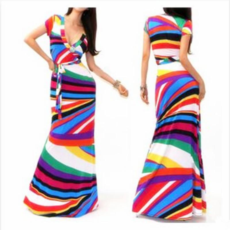 c39c971e6e Get Quotations · 2015 High Quality Brand Women Summer Dresses Striped Print  Long Dress Beach Boho Maxi Dress Feminine