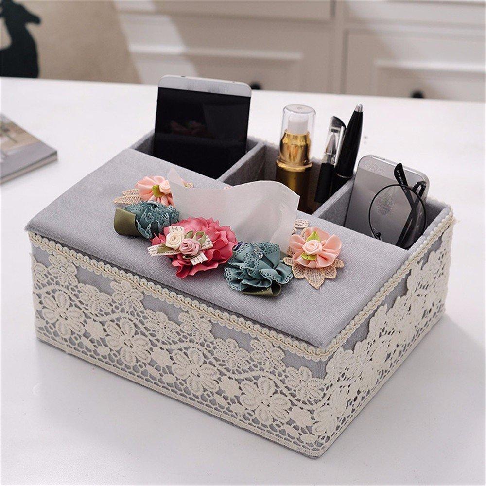 LOSTRYY Creative European fabric multifunctional coffee table remote control storage box tissue box, b