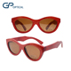 GW0033 Cat Eye polarized Lens Red Bamboo Wooden Sunglasses Custom LOGO