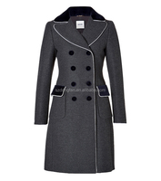 High Quality Women's full length wool blend coat slim trench parka military lady black fashion long coat factory wholesale