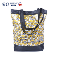 Custom new design reusable folding polyester shopping bag with zipper pocket and cartoon printed logo