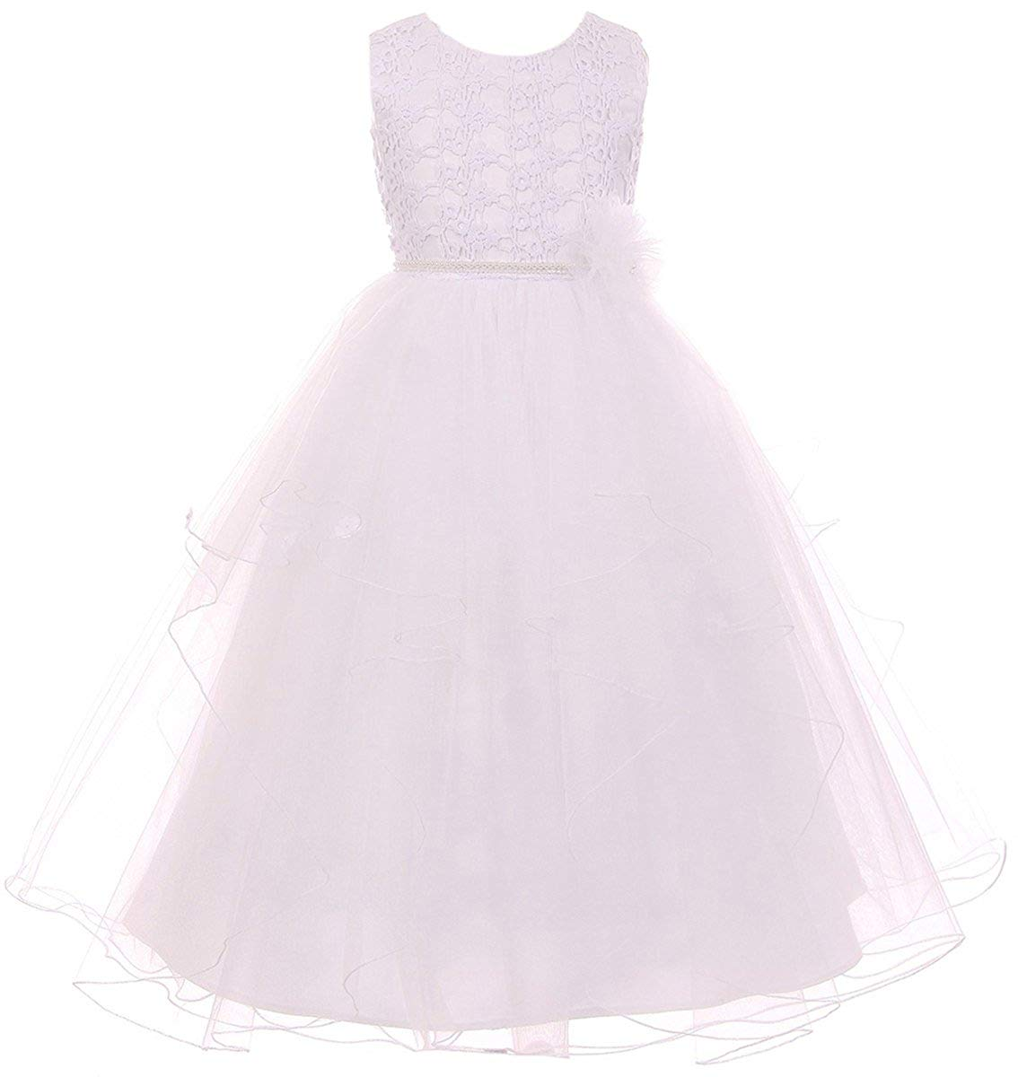 1a0e134a335 Get Quotations · Elegant Sleeveless Lace Top Pearl Communion Pageant Flower  Girl Dress 4-16