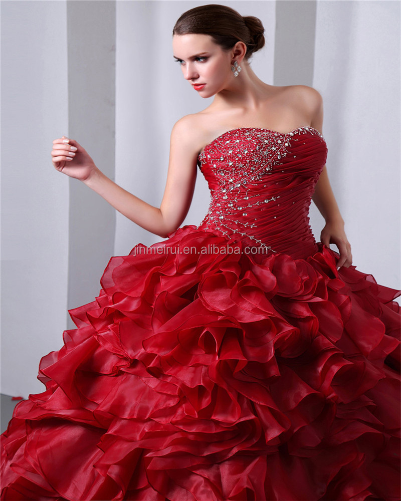 Red Sweetheart Sleeveless Floor Length Lace-up Evening Gowns Ruched Piping Sequins Beaded Quinceaneras Dress