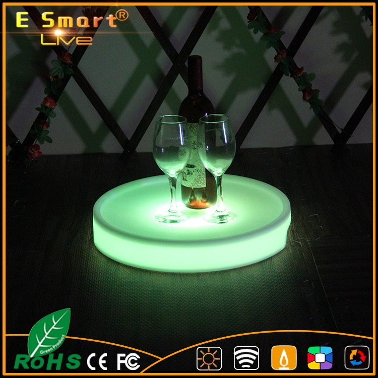 Modern nightclub illuminated waterproof rechargeable LED Serving Tray