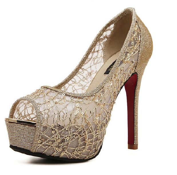 3d4d05faaad Get Quotations · 2015 Women s Red Bottoms Pumps Summer Peep Toe High Heels  Lace Glitter Breathable Platform Shoes Women