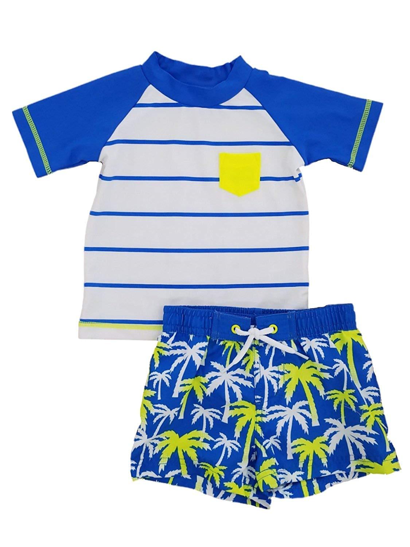 3c33b69cfe Get Quotations · Infant Boys Blue/White/Yellow Tropical Rash Guard & Swim  Trunks Set