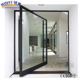 New design entrance aluminum pivot door with tempered glass