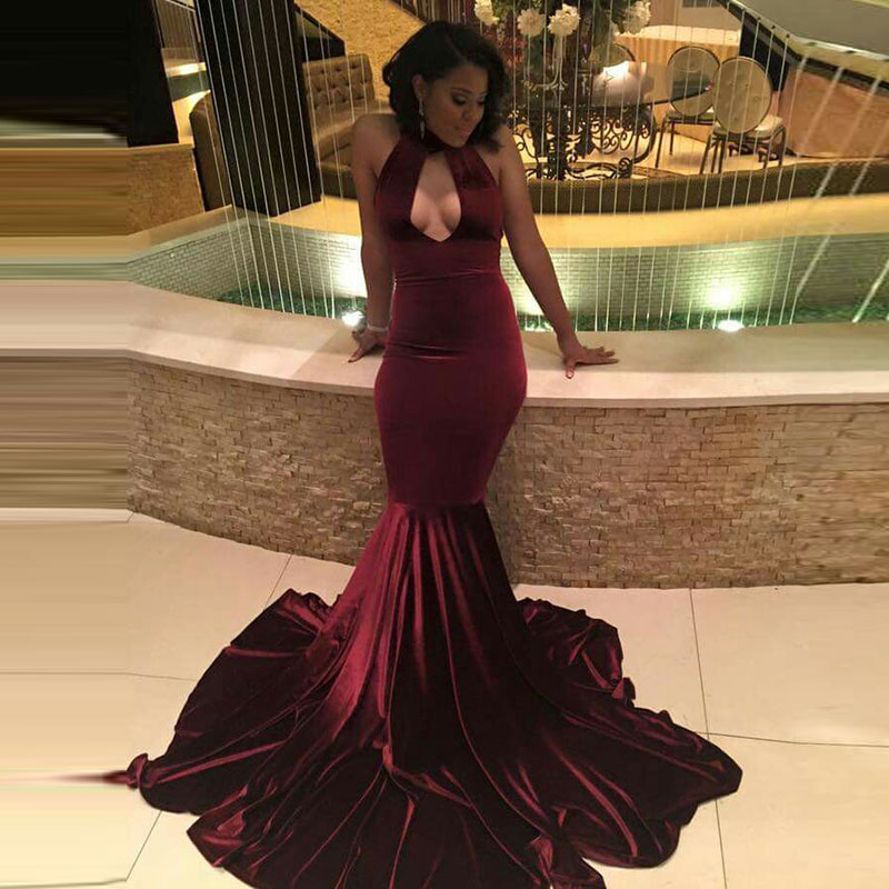 14b33bba1d Red Velvet Long Modern Prom Dresses Halter Mermaid Sleeveless Evening Dress  - Buy Prom Dresses