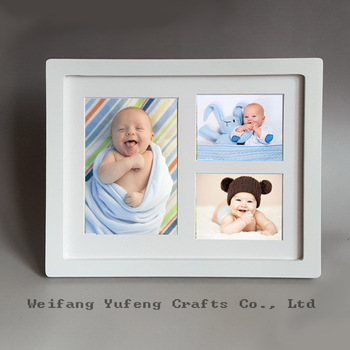 Cheap White Collage Picture Frames Triple Mat With Wood For Baby