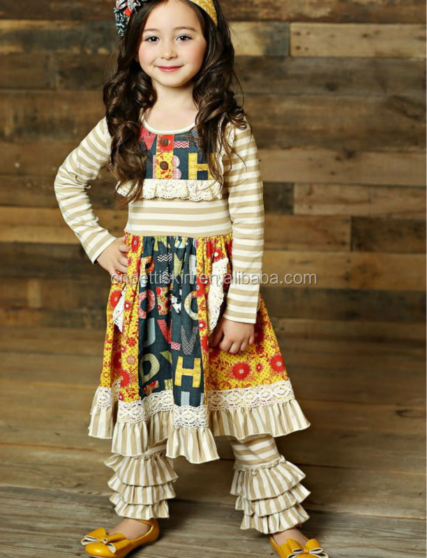6a30c7b6 Wholesale stripe mustard pie remake children baby frock autumn clothing  fall clothes for baby