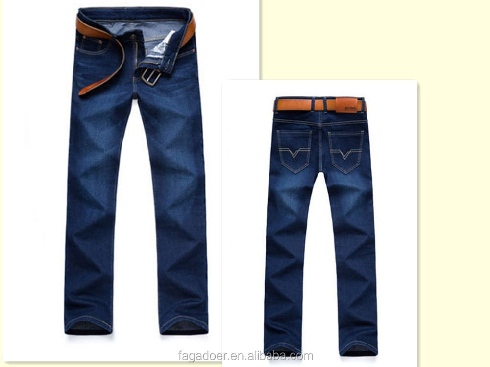 Wholesale side lace stitched design blue skinny fashion jeans for men