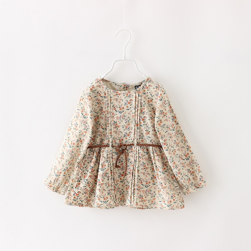 MS31101A Korea style new floral printed girls' dress with belts