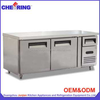 Kitchen Equipment Single Temperature Refrigerated Type Cooling Stainless  Steel Counter Tables