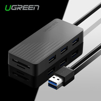 Ugreen All in One USB HUB High Speed 3 Ports USB 3.0 HUB with TF / SD Card Reader 1m Cable for MacBook Laptop PC