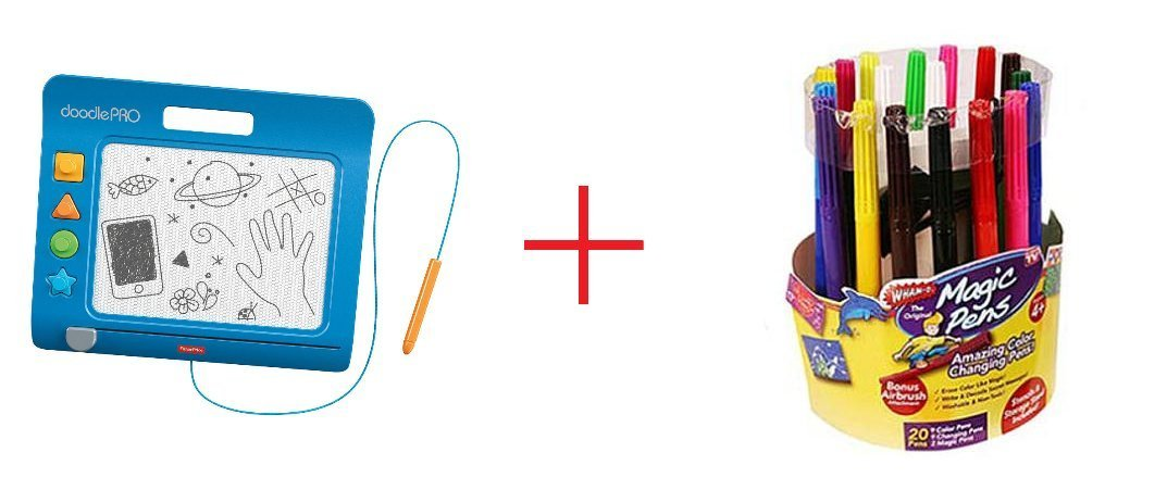 Fisher-Price DoodlePro Slim - Blue and Magic Pens-As Seen On TV Amazing Color Changing - Bundle