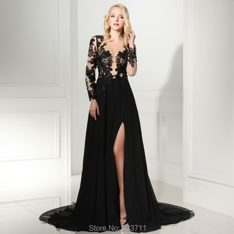 Robe De Soriee New Simple Wedding Dress Full Sleeve Lace: 2016 Real Charming A Line Black Chiffon Prom Dresses Full