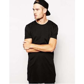 Hiphop Noir Pour Hommes Extra Longue T-shirt