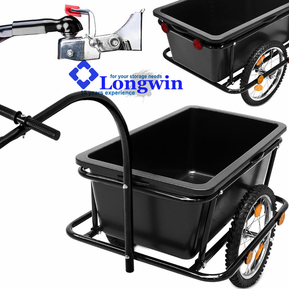 Bike Bicycle Cargo Trailer Cart Luggage Carrier Steel Frame w/ Plastic Tank