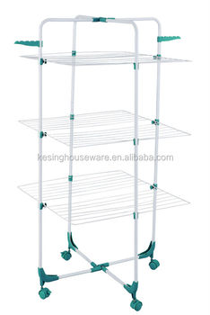 3 Tier Airer Laundry Clothes Rotary Drying Rack With Wheels Vertical Balcony Folding Towel