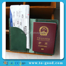 Wholesale Embassy Green Color Travrel Real Leather China Passport Cover/Holder Clear