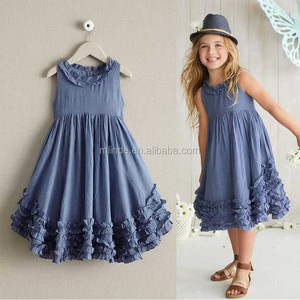 Wholesale Kids Clothes Clothing 100% cotton Apparel Custom Denim Ruffle Sleeveless Party Cocktail linen Girls Chambray Dress