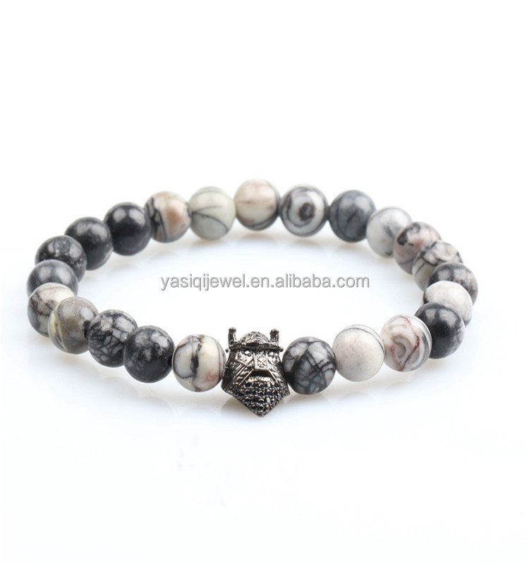 8% off Handmade jewelry copper animal charm 8mm grey natural stone bead elastic bracelet in high quality