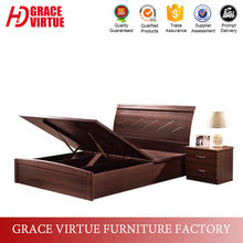 Factory Wholesale Price Walnut MDF Wooden Box Bed Design